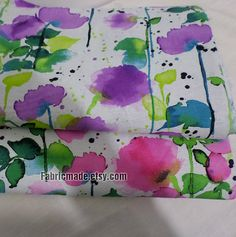 238317105d39 Summer Floral Cotton Linen Fabric Watercolour Flower by fabricmade Pastel  Flowers, Pastel Purple, Pink