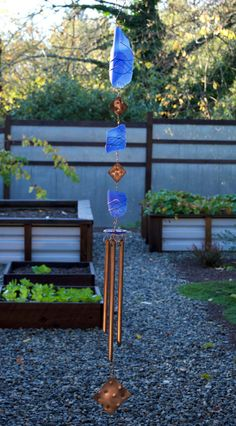Wind Chime all Glass and Copper Handcrafted Windchimes