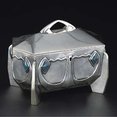 German Art Nouveau silver and blue stained hardstone jewellery box
