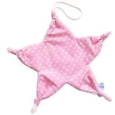Doudou attache tétine noeud forme étoile coton rose à étoiles blanches