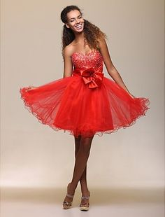 Sweetheart Beading Organza Knee length prom dress