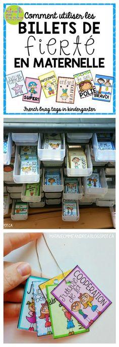 Maternelle avec Mme Andrea: Comment utiliser les « billets de fierté » en maternelle (French brag tags in kindergarten)