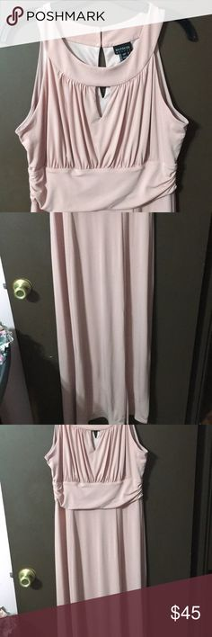 Blush pink maxi dress Gorgeous blush pink maxi dress. Rouched  bodice with key hole cutout and banded waist band. Very figure flattering. Keyhole cutout in the back with 2 buttons. Has a slit in the front. It says it's a petite but I'm 5-7 and it's the perfect length. Size 14 En focus Dresses