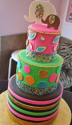 3 tier Baby Shower Cake I love this cake! It's a Girl Baby Shower Cake Ballywood Baby Shower Cake. Beautiful Cake Pictures, Beautiful Cakes, Amazing Cakes, Bollywood Cake, Elephant Cakes, Just Cakes, Colorful Cakes, Love Cake, Fancy Cakes