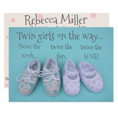 Cute pastel shoes girl twins baby shower invite Custom Office Party Invitations #office #partyplanning