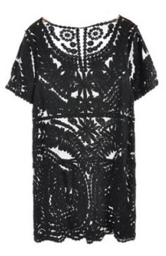 Black Short Sleeve Embroidery Sheer Lace Dress US$36.45