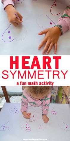 Heart Symmetry Math - HAPPY TODDLER PLAYTIME Here is a fun and super easy to set up heart math activity. It incorporates symmetry, numeracy and writing in one fun activity for preschoolers and kindergartners! Source by pocketpreschool and me activities Fun Activities For Preschoolers, Fun Math Activities, Valentines Day Activities, Preschool Activities, Math Games, Creative Activities, Maths, Symmetry Math, Symmetry Activities