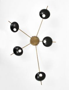 Anonymous; Brass and Enameled Metal Wall Light by Stilnovo, c1957.