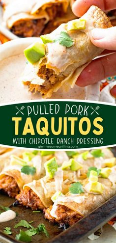 In search of more Cinco de Mayo food for your menu? You are only a few steps away from this perfectly crunchy, cheesy pulled pork taquitos recipe! Baked instead of fried, this appetizer is a bit healthier. Don't forget to serve with an easy Chipotle Ranch Dressing! Recipes Using Pork, Easy Homemade Recipes, Beef Recipes For Dinner, Entree Recipes, Barbecue Recipes, Easy Chicken Recipes, Grilling Recipes, Summer Recipes, Appetizer Recipes