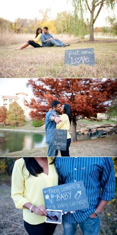 My most FAVORITE pregnancy announcement of all time. First comes love... <3 Photography by MaggShots Photography
