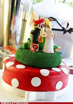 Mario wedding cake...love that he's standing  on a block.