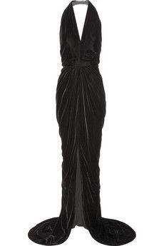 Oscar de la Renta Wrap-effect velvet halterneck gown Portrait Of Madame X, Drape Gowns, Discount Designer Clothes, Oscars, Clothes For Sale, Dress To Impress, Designer Dresses, Vintage Dresses, Velvet