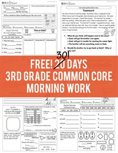 Free 30 days of grade common core morning work ~ second story window Third Grade Reading, Third Grade Math, Fourth Grade, Grade 3, 3rd Grade Homework, 3rd Grade Classroom, Math Classroom, Classroom Ideas, Student Teaching