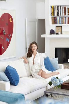 Her custom-made velvet sofa is by Michael Jon Designs Beauty And Health Routine, Little Swimmers, Miranda Kerr Style, Most Beautiful Models, Celebrity Houses, Love Seat, Velvet Sofa, Sweet Home, Couch