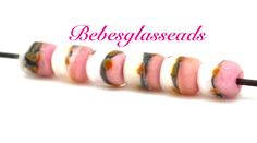 Boro Pink White Glass Barrels  Lampwork Bebesbeads (7) by bebesglassbeads on Etsy