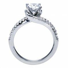 Super Sparkly White Gold Split Shank Bypass Engagement Ring @ Wedding Day Diamonds
