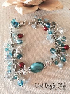 Crystal Blue Touched by Red Beaded Bracelet