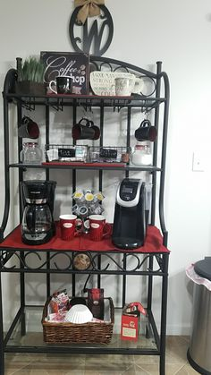 An inexpensive but chic way to turn a Bakers rack into a fabulous coffee bar Kleine Wohnung Coffee Bars In Kitchen, Coffee Bar Home, Coffee Corner, Coffee Wine, Coffee Theme Kitchen, Coffee Nook, Coffee Bar Station, Home Coffee Stations, Tea Station