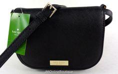 Kate Spade WKRU3817 Black Carsen Newbury Lane Saffiano Leather Crossbody NEW! #KateSpade #MessengerCrossBody