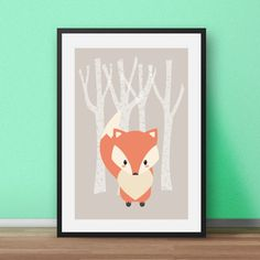 Nursery Wall Art Print. Mr Fox - part of the Woodlands Animals set. Perfect for the nursery or childs bedroom. In soft and soothing colours, this print will brighten any little persons room.  Most of my prints are now available for you to print at home in my other shop here: www.etsy.com/uk/shop/NordicDesignHouseCo   MY PRINTS  All of my prints are designed inhouse so if you require a different colour or alteration please just send me a convo and I will be more than happy to make any small…