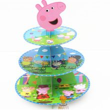 1pc Pink Pig cake stand 3-tier cupcake holder Holder 24pcs cupcakes Kid Boy Birthday Party supplies Cartoon Theme(China)