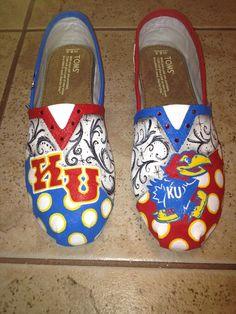 Kansas University Jayhawks hand paitned TOMS