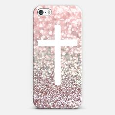 Girly Pink Snowfall Cross - Classic Snap Case
