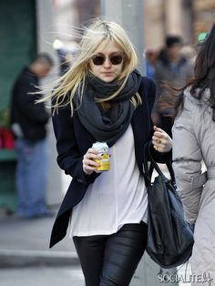 Dakota Fanning in leather leggings, infinity scarf, blazer.  perfectly laid back chic