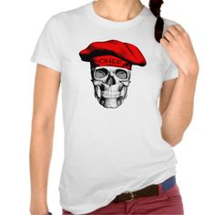 Skull Wearing Red Chef Hat Shirt