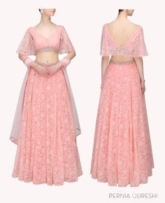Candy pink pearl and crystal embellished lehenga and embroidered blouse set
