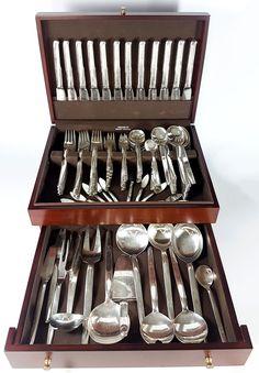 Hallmarked vintage Art-Deco 134 pcs .835 Silver flatware set OKA Silver  sc 1 st  Pinterest & 127 pcs Hallmarked Sterling silver pattern Acorn by Georg Jensen ...