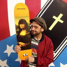 Louie Barletta side by side with his enjoi art classic series deck. enjoi skateboards.