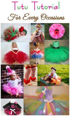 A tutu for every occasion! My little girl if I have one will definitely be rockin the tutu's :-) No Sew Tutu, Diy Tutu, Tulle Crafts, Diy And Crafts, Tulle Projects, Ribbon Tutu, Robes Tutu, How To Make Tutu, Princess Tutu