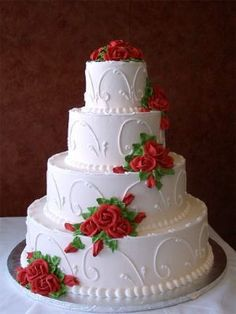 wedding cakes roses Wedding cakes with flowers cascading red roses ideas White Wedding Cakes, Wedding Cakes With Flowers, Beautiful Wedding Cakes, Gorgeous Cakes, Amazing Cakes, Red Wedding, Cascading Flowers, Elegant Wedding, Fall Wedding