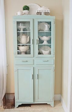 "The Painted Parsonage: Vintage Cupboard redo-paint color ""watery"" by Sherwin Williams. I have this cabinet! Paint Furniture, Furniture Makeover, Painted China Cabinets, Cupboard Design, Vintage Kitchen, Vintage Furniture, New Homes, Sweet Home, Shabby Chic"