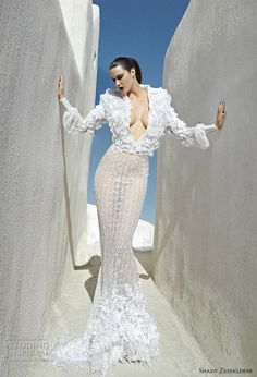 Plunging neck couture wedding gown by Shady Zeineldine