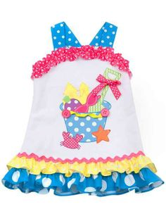 Rare Editions BEACH BUCKET White Blue Knit Dress BABY Girls 12m-24m - Color Me Happy Boutique