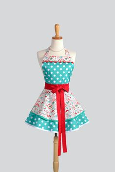 Ruffled Retro Apron / Cute Retro Modern Appeal in by CreativeChics, $45.00