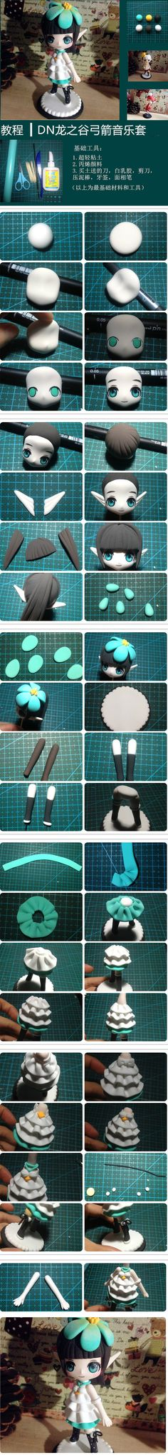 Polymer Clay Anime Fairy Chibi figurine picture tutorial am I the only one who doesnt fully get how to do the eyes Polymer Clay Figures, Polymer Clay Dolls, Polymer Clay Charms, Polymer Clay Projects, Polymer Clay Creations, Clay Crafts, Cute Clay, Clay Figurine, Sculpture Clay