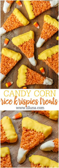 Candy Corn Rice Krispies Treats - these would be great for any party and are so…