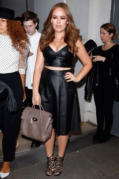 Tanya Burr looked stunning as she hit LFW in a Sandro crop top and Very skirt