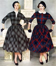L'Aiglon 1958 plaid day dress black grey red blue school girl full skirt tab collar round 3/4 sleeves models magazine late 50s era beret hat flats shoes sexy librarian look vintage fashion