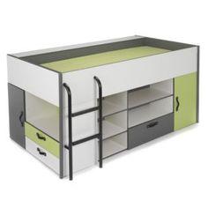 lit combin avec rangements pour enfant blanc gris graphite vert pomme kiwi les lits. Black Bedroom Furniture Sets. Home Design Ideas