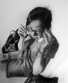 Artist: Paul Lung {hyperreal female with eyeglasses foreshortening woman b+w pencil drawing}