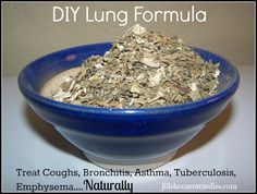 Cough Remedies DIY Lung Formula for Coughs, Asthma, Bronchitis, Tuberculosis, Emphysema at Jill's Home Remedies.going to research this for use in dogs Holistic Remedies, Homeopathic Remedies, Natural Home Remedies, Health Remedies, Home Remedies For Bronchitis, Dry Cough Remedies, Home Remedy For Cough, Allergy Remedies, Natural Medicine