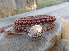 Bordeaux red Swarovski pearl double wrap by HungOutOnAWire on Etsy
