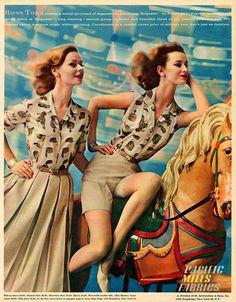 Terrific early 60s novelty print blouses. #vintage #retro #1960s #fashion #summer