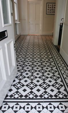 Black & white victorian tiles in a hallway showing Box & Star design with St Peter's Border . We can reproduce any size or shape of tile to match the original. Hall Tiles, Tiled Hallway, Entry Hallway, Entrance Hall, Entryway Flooring, Hall Flooring, Flooring Ideas, Tile Entryway, Black And White Hallway