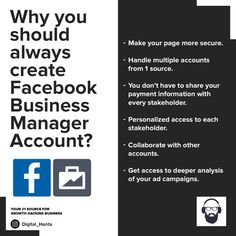 If you use Facebook or Instagram for your business, upgrade to FB business account instantly. . . . #Follow @digital_hanta for more #marketingknowledge  #FBmarketing #FbBusinessmanager #SocialMediaMarketing #Growthmarketing #PerformanceMarketing #marketingknowledgeseries #marketingKnowledgeSeries Growth Hacking, Social Media Marketing, Collaboration, Accounting, Campaign, Knowledge, Management, Ads, Facebook