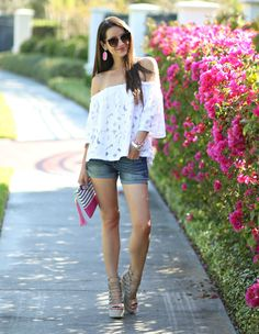 Off the shoulder tops are spring's hottest trend, and we're showing how to style this white lace off the shoulder top by BB Dakota in today's style post.